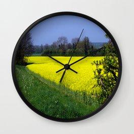Rapeseed Field, UK  (Brassica napus Linnaeus) Wall Clock