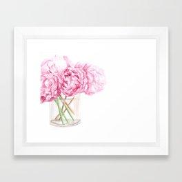 Peonies in a Vase Art, Pink Flower Bouquet Painting, Anne Hockenberry Framed Art Print