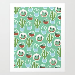Cactus Green Pattern Art Print