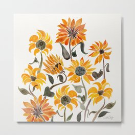 Sunflower Watercolor – Yellow & Black Palette Metal Print