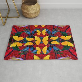 RED-WHITE ROSES & YELLOW BUTTERFLIES GARDEN Rug
