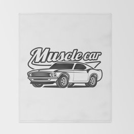 Muscle retro car Throw Blanket