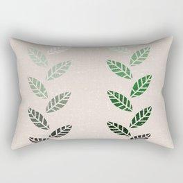 Green Leaves in Brown Grain Rectangular Pillow