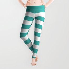 Narrow Horizontal Stripes - White and Verdigris Leggings