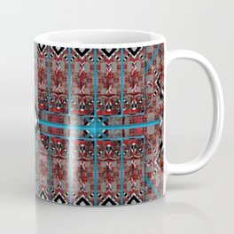 no. 187 red white black pattern with aqua Coffee Mug