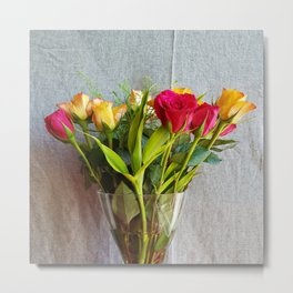 Flowers in a vase - with red and yellow roses Metal Print