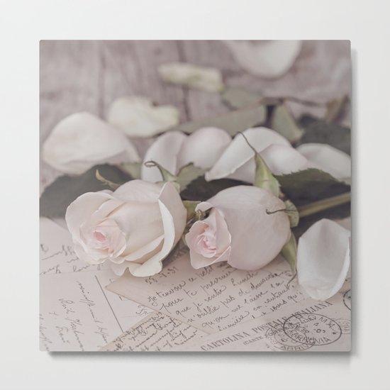 Pink Rose nostalgic Still Life Metal Print