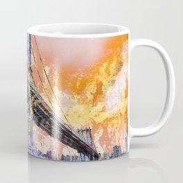 New York City Manhattan Bridge Gold Coffee Mug