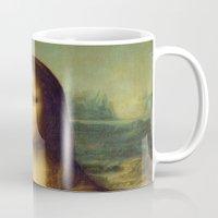 mona lisa Mugs featuring Mona Lisa by TilenHrovatic