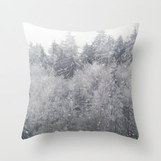 Snowing Trees Throw Pillow