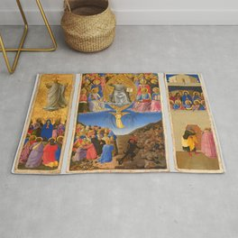 """Fra Angelico """"The Corsini Tryptich - Triptych of the Last Judgment, Ascension, and Pentecost"""" Rug"""