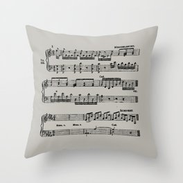 Black distressed stamped music notes light gray grey background Throw Pillow