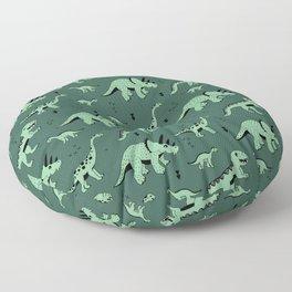 Dinosaur jungle love quirky creatures illustration Floor Pillow