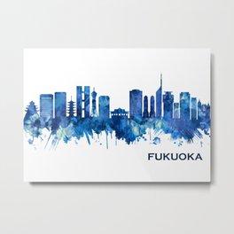 Fukuoka Japan Skyline Blue Metal Print