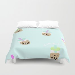 Blue Boba Milk Tea Duvet Cover