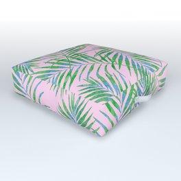 Fern Leaves Pink Outdoor Floor Cushion