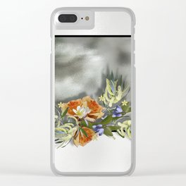 Beautiful bouquet of flowers on shiny background Clear iPhone Case