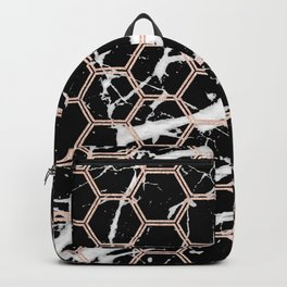 black marble with rose gold hexagons Backpack