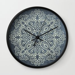 Mandala Vintage Ivory Blue Wall Clock