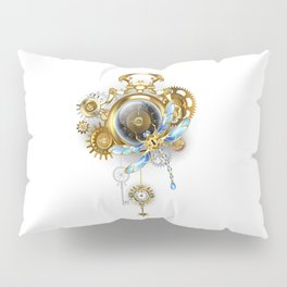Steampunk Clock with Mechanical Dragonfly Pillow Sham
