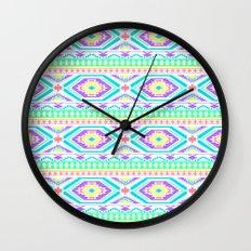 Aztec Geometric Print - Pastel bright colours Wall Clock