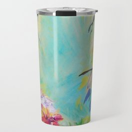 BLISS - Stunning Bold Colorful Idyllic Dream Floral Nature Landscape Secret Garden Acrylic Painting Travel Mug