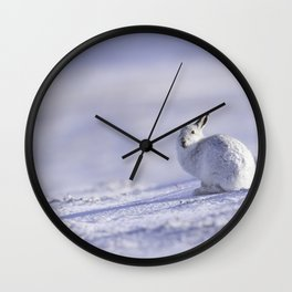 Mountain hare on snow covered mountain Wall Clock