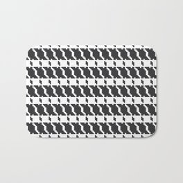 Black and white geometric abstract background, cloth pattern, goose foot. Pied de poule. Ve Bath Mat