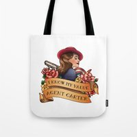 agent carter Tote Bags featuring Agent Carter Vintage Tattoo Light by Bonnie Detwiller