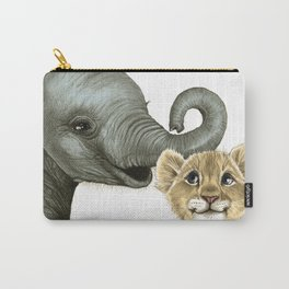 Elephant Calf and Lion Cub Carry-All Pouch