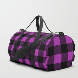 Plaid (Black & Purple Pattern) Duffle Bag