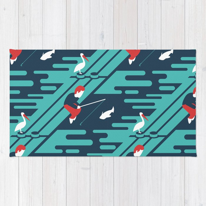 Fishing on the Dock Pattern Rug