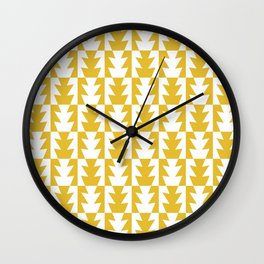 Art Deco Jagged Edge Pattern Mustard Yellow Wall Clock