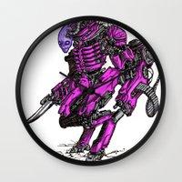 the neighbourhood Wall Clocks featuring Just Your Friendly Neighbourhood Cyborg Alien by Skylab
