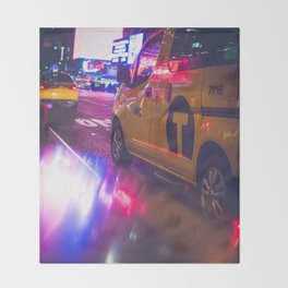 Taxi NYC Life (Color) Throw Blanket