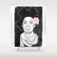 basquiat Shower Curtains featuring Basquiat by DonCarlos