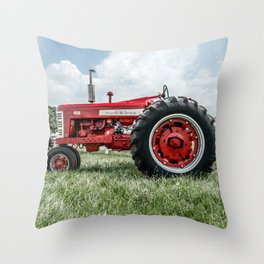 Vintage IH Farmall 450 Side View Red Tractor Throw Pillow