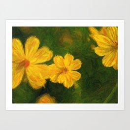 Paint of yellow cosmos flower Art Print