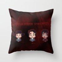 ahs Throw Pillows featuring AHS Hotel: Justin by Sunshunes