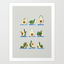 Avocado Yoga Watercolor Art Print
