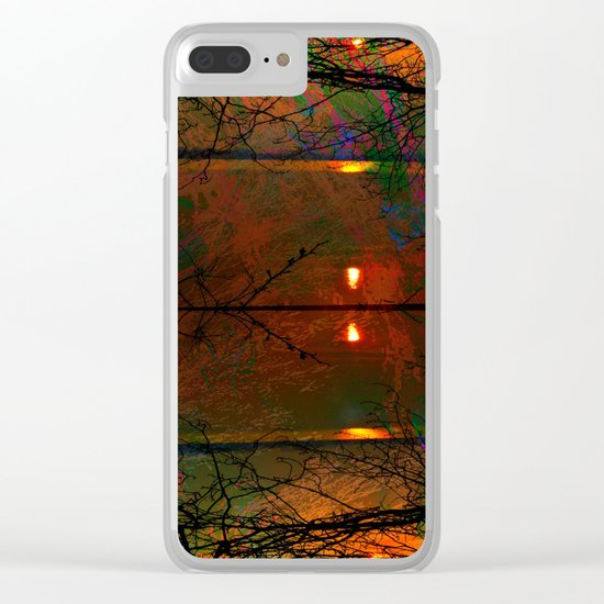 Sunset abstract-art Clear iPhone Case