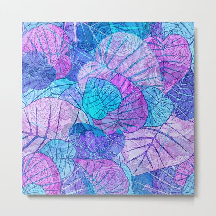 Leaves in Rosy Background Metal Print