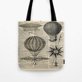 newspaper print victorian steampunk airship plane hot air balloon Tote Bag