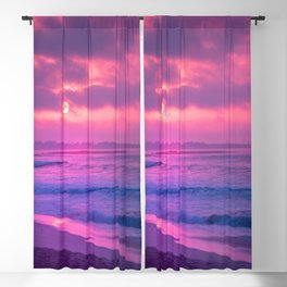 Wonderful Beach At Marvellous Evening Red Violet Tint Ultra High Resolution Blackout Curtain