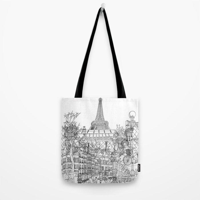 Paris! B&W Tote Bag