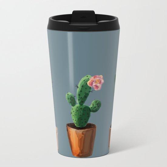 Three Cacti On Blue Background Metal Travel Mug