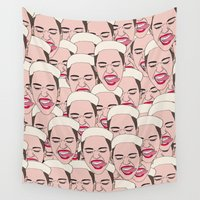miley Wall Tapestries featuring Miley Cyrus Faces by Craftians