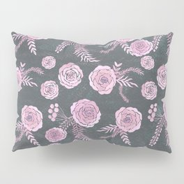 Peony Pattern Grey Pillow Sham