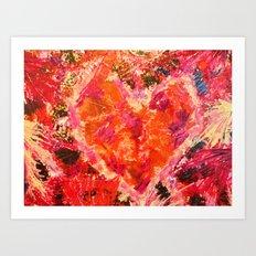MEND ME - Broken Heart Abstract Artwork Bright Bold Crimson Red Magenta Black Leopard Print Art Print