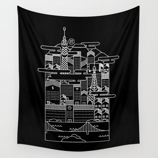 TOKYO BY NIGHT Wall Tapestry